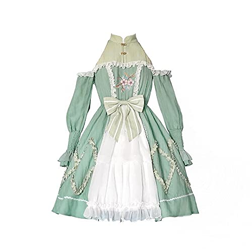 JLCYYSS Vestido de princesa bordado Lolita de estilo chino OP Puff sleeve Teen Girls Soft Cute Party Court Faldas, Disfraz de Cosplay S MintGreen