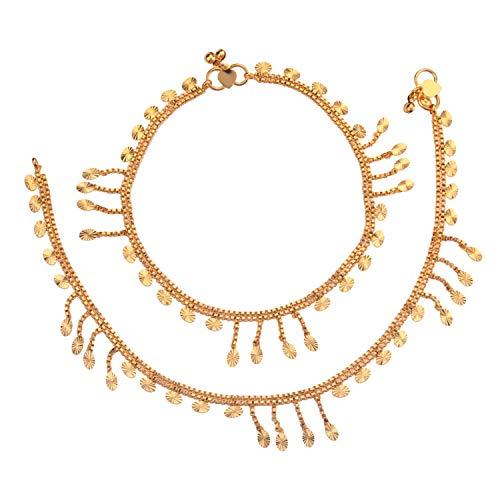 Efulgenz Indian Bollywood 14 K Gold Plated Wedding Bridal Charm Anklet Set (2 pc) Bracelet Payal Foot Jewellery