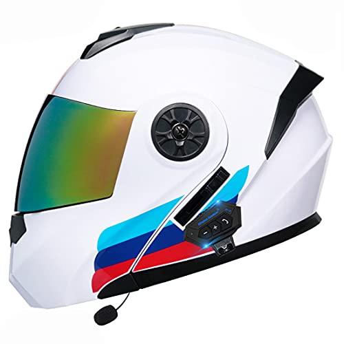 YALIXING Bluetooth Integrado Casco De Moto Modular con Doble Visera Cascos De Motocicleta ECE Homologado A Prueba De Viento para Adultos Hombres Mujeres (Color : 36, Size : Large 59-60CM)