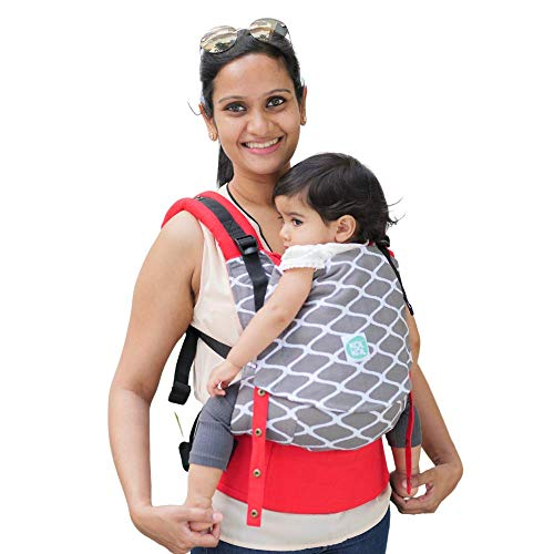 Kol Kol Baby Carrier Bag, 100% Hand Woven Cotton, Light-Weight, Safe & Ergonomic Baby Carry Bag with Hood & 2 Carry Positions, for 4 Months to 3 Year Old Baby, Clay, Grey - Suitable for Men & Women