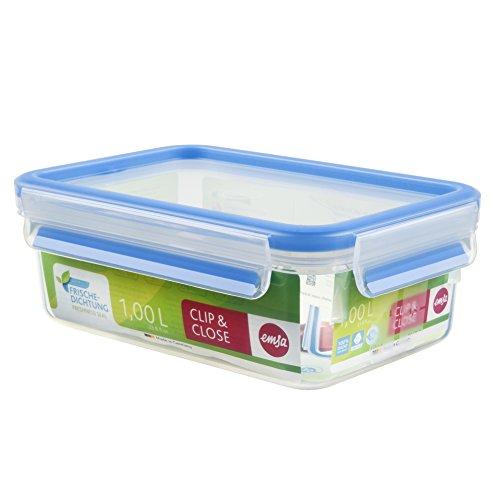 Emsa 508540 Rechteckige Frischhaltedose mit Deckel, 1.0 Liter, Transparent/Blau, Clip & Close