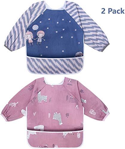 Viedouce Baby Lätzchen mit Ärmeln, Wasserdicht Ärmellätzchen, Baby Drool Lätzchen mit Vordertasche, Fütterung Lätzchen Schürze für Jungen Mädchen von 6 Monaten bis 3 Jahren (2er Pack)