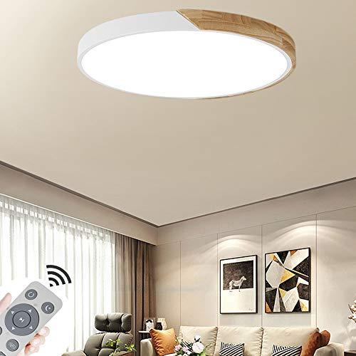 COOSNUG 60W Modern LED Deckenleuchte Holz Deckenlampe Wohnzimmer Flurleuchte Küche Panel Leuchte Dimmbar (3000-6500K) [Energieklasse A++]