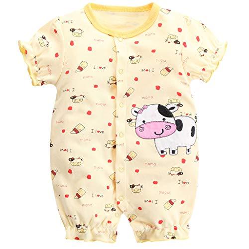 Baby Sommer Spieler Strampler Mädchen Baby-Schlafanzüge Einteiler mit Kurzen Beinen Kuh 0-3 Monate