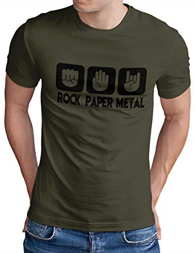 OM3® - Rock Paper Metal - T-Shirt - Herren - Stein Papier Schere Metalhand Musik - Oliv, S