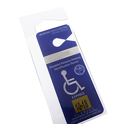 Clear Handicap Parking Placard Protective Holder - Rear View Mirror Disability Permit Hanger - Hard Flexible Plastic Construction - by Specialist ID, Sold Individually