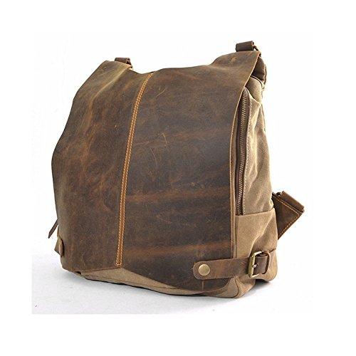 YAAGLE verrücktes Pferd Segeltuch Tasche erste Schicht aus Leder Retrotasche Vintagetasche Gepäck Reisegepäck Schultertasche Posttasche Messenger Bag Geschenk Unisextasche Kulturtasche Handgäck Fahrradtasche