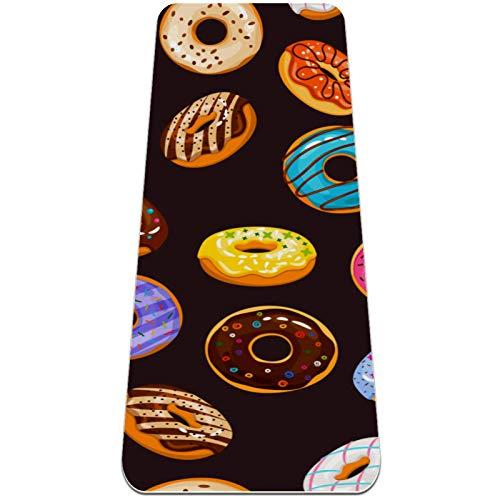 BestIdeas Esterilla de yoga Delicioso Patrón de chocolate Donut para Yoga, Pilates, Ejercicio de suelo Hombres Mujeres Niñas Niños Principiantes Diseño antideslizante