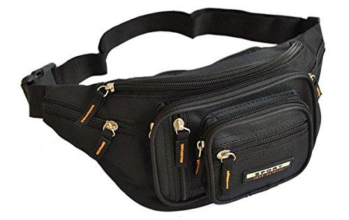 Sport Best Fashion - Sacoche Banane - 8 poches avec fermeture zippée - Noir