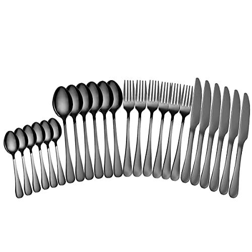 Juego de cubiertos de acero inoxidable 18/0, para 6 personas, espejo negro, 24 piezas, incluye cuchillo de mesa, tenedores y tenedores de postre, sopa y cuchara de postre. Apto para lavavajillas.
