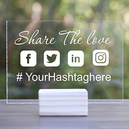 hllhpc Hashtag Personalizzato Nome Social Media Car Wedding Window Decalcomania ArtPersonalized Instagram Snapchat Twitter Facebook 56 * 31cm