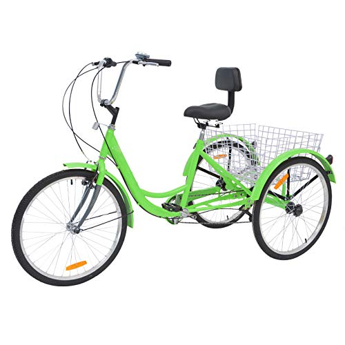 VANELL Adult Tricycle 7 Speed Three Wheel Trike Bike Cruiser Adult Trikes Low Step-Through W/Large Size Basket for Women Men Shopping Exercise Recreation (Lawn Green, 24in Dia.Wheels)