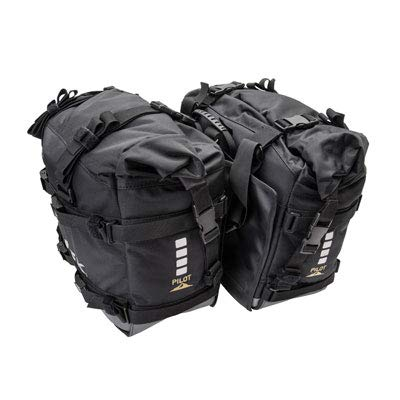 Tusk PILOT Dual Sport Adventure Motorcycle Pilot Pannier Bags - Black/Grey - Includes Neck Gaiter with Purchase