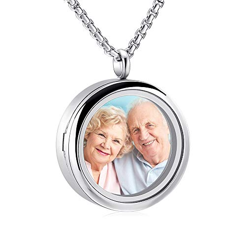 Oinsi Glass Cremation Urn Necklace for Ashes Stainless Steel Floating Locket Charm Memory Locket Jewelry to Hold Loved one/Pet's Photo (Glass Design)