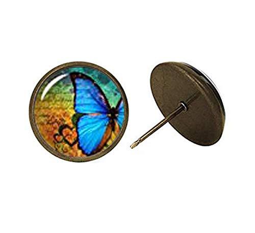 Pendientes de Mariposa morfo, chapados en Plata, con Cierre de presión o Cierre de Palanca, joyería de jardinería