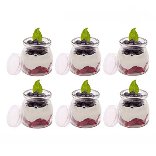 Agreenway Botes para Yogurtera Vasos de Repuesto con Tapa para Yogurtera para Hacer Yogures o Postres Melmeladas, Salsas de Tomate (6pc)