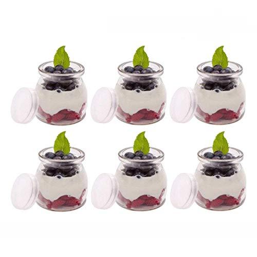 200 ml Yogurt Vetro, Vasetti di Ricambio Vasetti di Vetro Vasetti di Marmellata con Coperchio in Silicone per Dessert di Yogurt Maker Adesivo Gratuito (6pc)