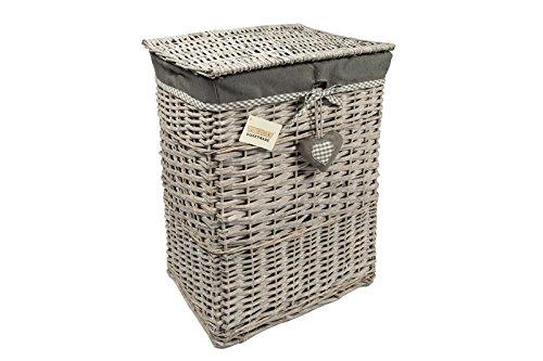 woodluv Rectangular Lined Natural Willow Laundry Lidded Storage Basket/Bin, Grey