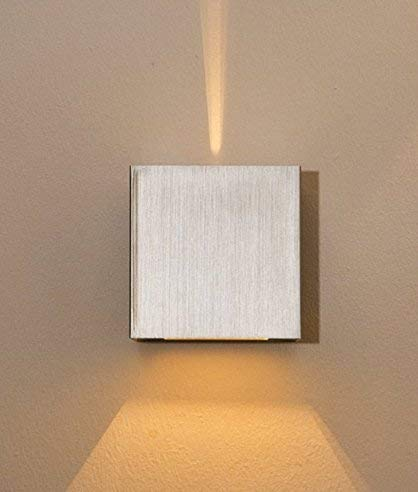 ABVERKAUF Lampenlux LED Up/Down Wandleuchte Wandlampe Amon breit-schmal Stimmungslicht silber G9 4W