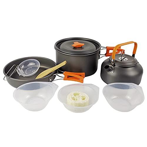 QWWR Utensilios de Cocina Kit para Acampar Sartenes y Ollas para Acampar Antiadherentes Livianas y Portátiles con Hervidor para 2-3 Personas para Acampar,Orange