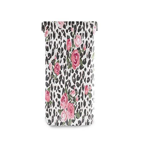 QMIN - Funda para gafas de sol, piel de leopardo, diseño de rosa