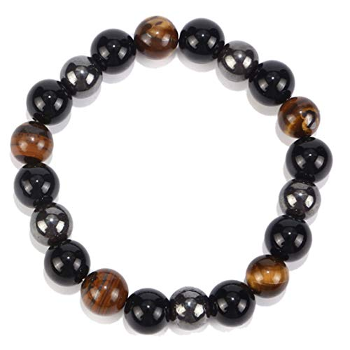 Tiger Eye Triple Protection Hematite and Black Obsidian Bracelet?Self-Confidence Return Negative-Energy Witch Wizard - Black and Brown