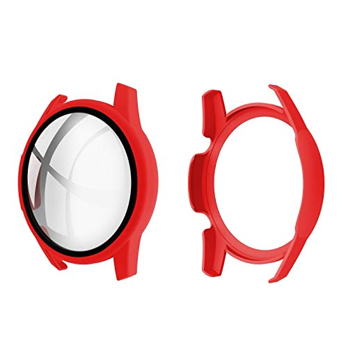 LASHEHIU Schutzhülle für Huawei Watch GT2, 46 mm, Öleingespritzte Polycarbonat-Schale + 9H-Hartglas-Folie, integrierte Schutzhülle (weiß) (Farbe: Rot)
