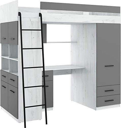 Hochbett mit Schreibtisch, Schubladen, Kleiderschrank und Bücherregal - Level L - (CraftWeiß/Graphit)