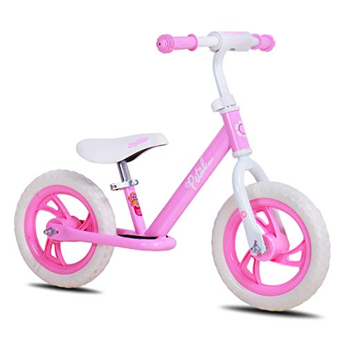 JOYSTAR 12 Inch Balance Bike for Girls 2 3 4 5 Years Old, Toddler Push Bike with Footboard & Handlebar Protect Pad, Child Glider Cycle, Kids Slider, Pink