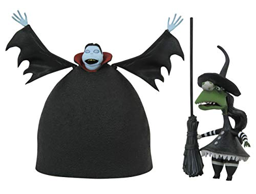 DIAMOND SELECT TOYS The Nightmare Before Christmas: Short Vampire with Short Witch Action Figure 2 Pack, Multicolor