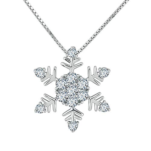 Poetic - Ciondolo natalizio a forma di fiocco di neve, in argento Sterling 925, con zirconi brillanti, 45 cm e Argento, cod. Pot_PDSS_JWL25