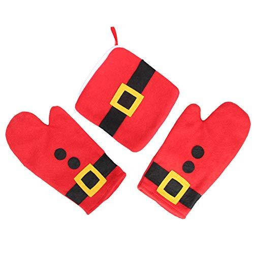 Presine e guanti da forno 3Pcs Natale carino Cintura di Babbo Natale Design Set da forno Guanti da barbecue e portavasi Divertenti guanti da cucina per feste natalizie Cottura domestica Cottura