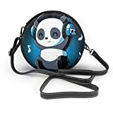 BAODANLA Bolso redondo mujer Women's Round Vegan Leather Crossbody Satchel Shoulder Handbag Cute Headphone Panda Circle Tote Shopping Bag For Ladies Sling Bag