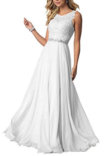 Beyonddress Damen Chiffon Spitze Abendkleider Elegant Brautkleid Festkleid Ballkleider(Weiß Lang,44)