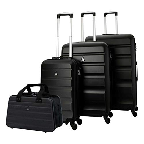 Aerolite Lightweight 4 Wheel ABS Hard Shell 4 Piece Lugagge Suitcase Set, 21' Cabin + 25' + 29' + 40x20x25cm Hand Cabin Shoulder Flight Bag Black + Black