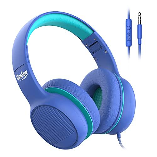 gorsun Premium A66 Kopfhörer für Kinder mit 85dB/94dB Lautstärkebegrenzung, in-line HD-Mikrofon, Audio-Sharing, Faltbare KinderKopfhörer, einstellbare Toddler Kopfhörer Over-Ear, blau