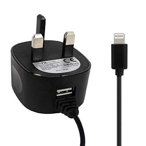 Gadget Juice Power cuando lo necesites, cargador de red de 2 A, enchufe rápido de pared para iPhone XS XR X 8 7 6S 6 Plus SE 5S 5C 5 iPad Air Pro Mini con cable integrado Certificado CE Negro