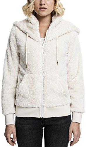 Urban Classics Damen Kapuzenpullover Teddy Zip Hoodie, lang geschnittener Teddy-Fleece-Pullover mit Reißverschluss und hohem Kragen in der Kapuze - Farbe sand, Größe XS