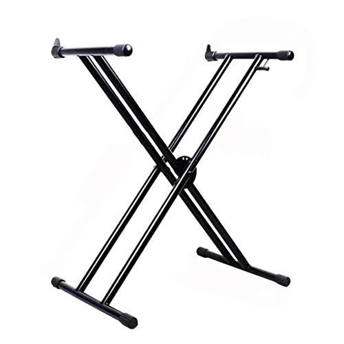 Outdoor Performance Guzheng Bracket, Bold Doppelrohr-Haushalt X Klavier Bracket Keyboard Klavier Musikinstrumente Zubehör (Color : Black)