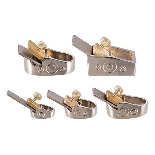 Muslady Houtschaaf gereedschapsset van roestvrij staal voor Rattherie viool knutselen hout 5 stuks/set zilver.