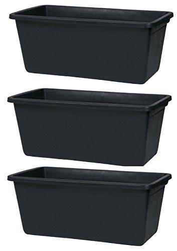 3er Set Mörtelkasten eckig 65L Maurertuppen schwarz Maurerkasten