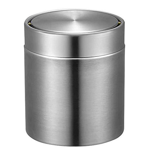 Poubelle- Mini poubelle de couvercle d'oscillation, acier inoxydable réutilisant la petite poubelle pour le chevet de coiffeuse 1.5L (Couleur : Stainless steel)