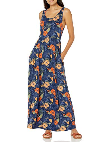 Amazon Brand - 28 Palms Women's Tropical Hawaiian Print Sleeveless Maxi Dress, Watercolor Orange Hibiscus, XX-Large
