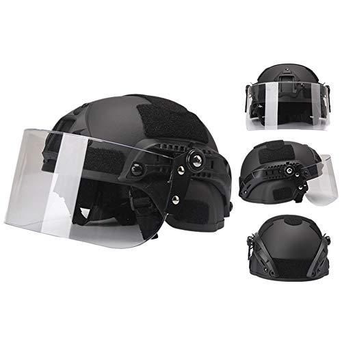 WTZWY ICH 2000 Tactical Schnellhelm, Mit Klaren Visier NVG Mount and Side Rail-, CS Airsoft Schutz Militär Paintball Helm Proof Maske,Schwarz