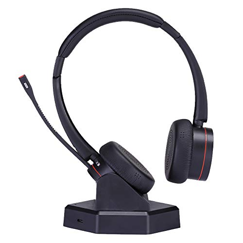 Wireless Telephone Headset with Microphone Noise Cancelling Business Headset Dual Ear Compatible with Computer Laptop Cell Phones for Conference Skype Calls Microsoft Teams etc