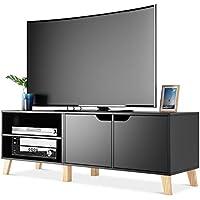 Homfa Mueble TV Salón Mesa para TV con 2 Puertas 2 Compartimientos Negro 140x40x48cm