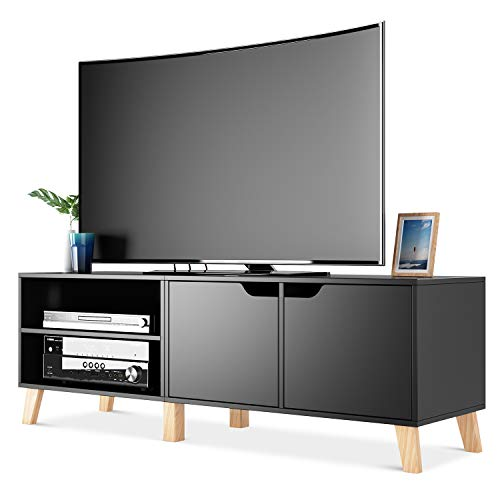 Homfa 55 in TV Stand with 2 Doors and Shelves, Modern Console Entertainment Center Media Console Storage Cabinet for Living Room Home, Black