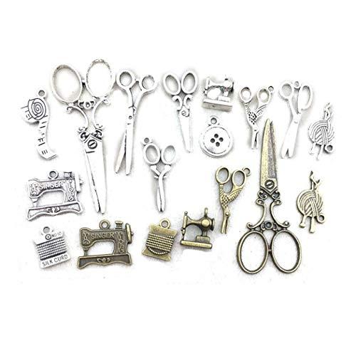 HK283 40 Stück antikes Silber Bronze Schere Anhänger Charms für Halskette, Armband, Ohrringe, Schmuckherstellung