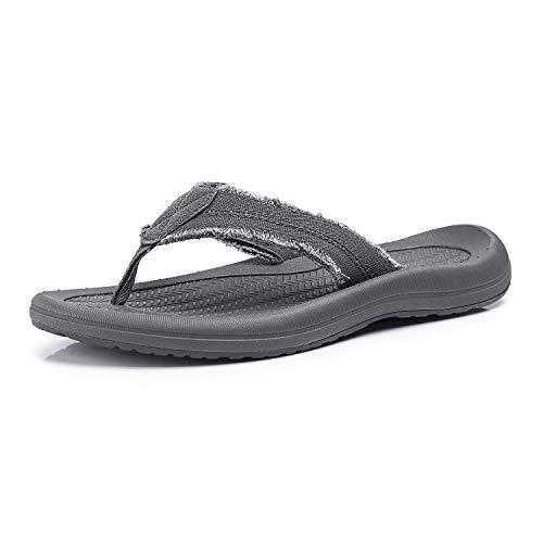 FITORY Herren Zehentrenner Flach Flip Flops Sports Sandalen Erwachsene Bequem Sommer Schuhe Grau Gr 46