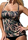 Women Plus Size Swimwear Tankini Camo Bathing Suit 2 Pieces Bikini Set Medium
